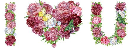 Words I love you of watercolor flowers