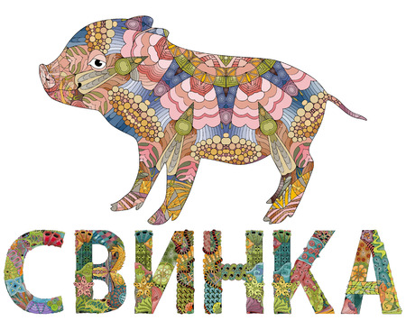 Hand-painted art design. Hand drawn illustration stylized pig and word PIG in Russian for t-shirt and other decoration. Labour Day Illustration
