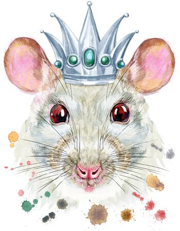 Cute white rat with silver crown for t-shirt graphics. Watercolor rat illustration 写真素材