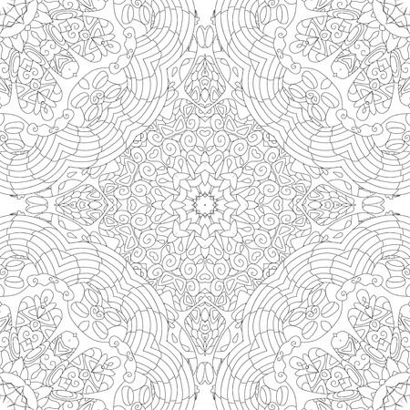 Decorative square seamless ornaments. Unusual flower shape. Oriental vector, Anti-stress therapy patterns. Weave design elements.