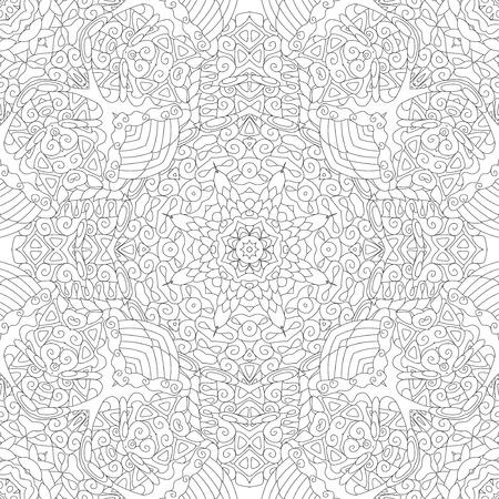 Adornos cuadrados decorativos sin costuras. Forma de flor inusual. Vector oriental, patrones de terapia antiestrés. Tejer elementos de diseño.