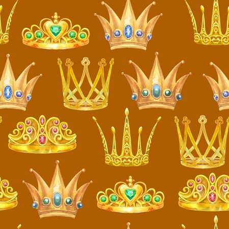 Cute seamless pattern with crown. Watercolor girly texture. Textile or wrapping design.