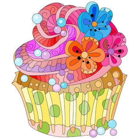 Vector piece of cake with abstract ornaments. Hand drawn illustration for t-shirt