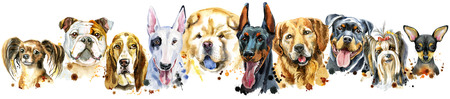 Border from watercolor portraits of dogs for decoration Stock Photo
