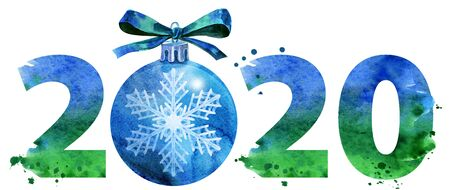 New year 2020 watercolor number with Christmas decorations isolated on the white background