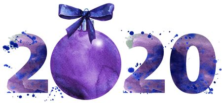 Watercolor illustration new year two thousand and twenty with Christmas decorations
