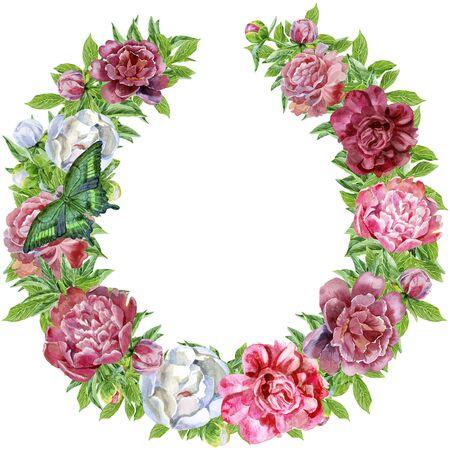 Wreath for decoration design with butterflies. Vintage design. Herbal illustration. Natural backdrop
