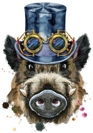 Cute piggy. Wild boar with black hat topper and steampunk glasses for t-shirt graphics. Watercolor brown boar illustration