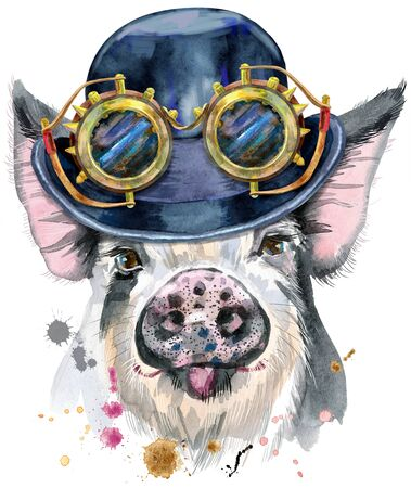 Watercolor portrait of pig with hat bowler and steampunk glasses