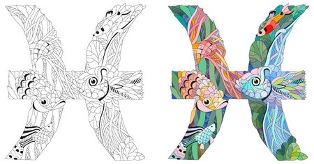 PISCES zodiac sign, astrology concept art. Tattoo design. Color and outline set