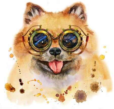 Watercolor portrait of dog pomeranian spitz with steampunk glasses