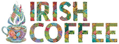 Hand-painted art design. Hand drawn illustration words IRISH COFFEE with cup silhouette for t-shirt and other decoration