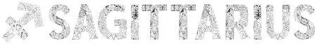 Sagittarius zodiac sign, astrology concept art. Tattoo design