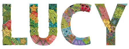 Hand-painted art design. Hand drawn illustration female name LUCY for t-shirt and other decoration