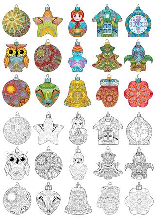 Set of christmas decorations for t-shirt design, tattoo and other decorations. Color and outline set