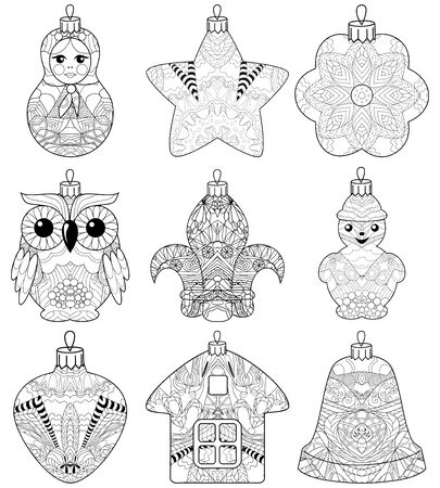 Set of christmas decorations for coloring book, tattoo and other decorations