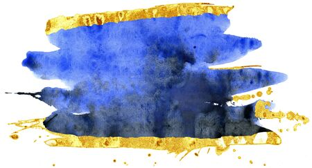 Coloured Watercolor Background. Blue and gold brush strokes 写真素材