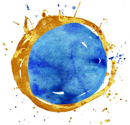 Coloured Watercolor Background. Blue and gold circle 写真素材 - 133537479