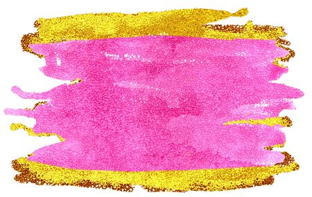 Coloured Watercolor Background. Pink and gold brush strokes Reklamní fotografie