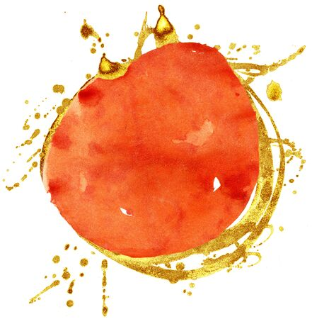 Orange and gold watercolor circle isolated on white background