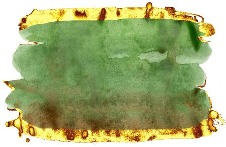 Coloured Watercolor Background. Green and gold brush strokes