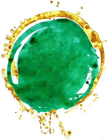 Coloured Watercolor Background. Green and gold circle 写真素材 - 133537493