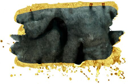 Coloured Watercolor Background. Black and gold brush strokes