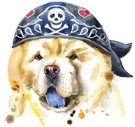 Cute Dog wearing biker bandana. Dog T-shirt graphics. watercolor chow-chow dog illustration 写真素材 - 133537555
