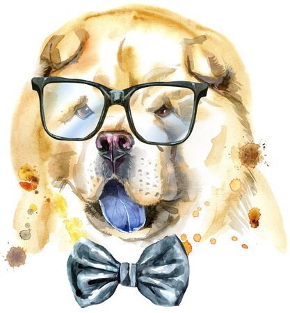 Cute Dog with bow-tie and glasses. Dog T-shirt graphics. watercolor chow-chow dog illustration 写真素材