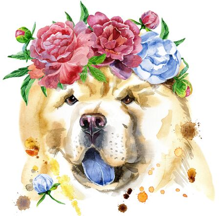 Cute Dog in a wreath of peonies. Dog T-shirt graphics. watercolor chow-chow dog illustration Stock Photo