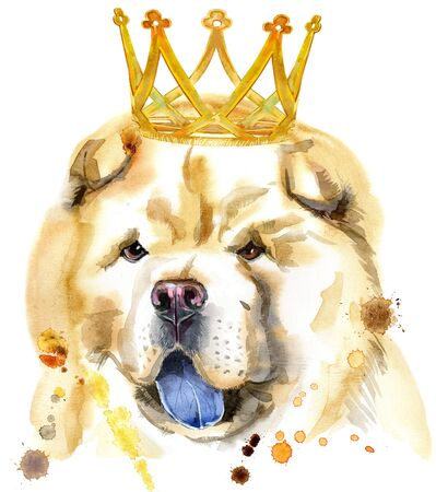 Cute Dog with crown. Dog T-shirt graphics. watercolor chow-chow dog illustration 写真素材 - 133537551