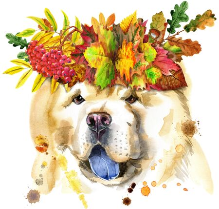 Cute Dog with wreath of leaves. Dog T-shirt graphics. watercolor chow-chow dog illustration 写真素材