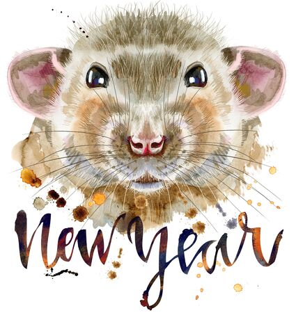 Cute rat with the inscription new year for t-shirt graphics. Watercolor rat illustration 写真素材 - 133537658
