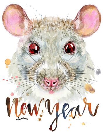 Cute white rat with the inscription new year for t-shirt graphics. Watercolor rat illustration 写真素材 - 133537656