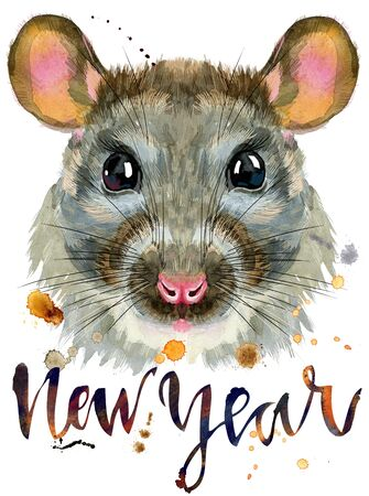 Cute rat with the inscription new year for t-shirt graphics. Watercolor rat illustration 写真素材 - 133537660