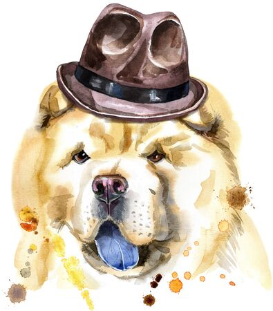 Cute Dog in a brown hat. Dog T-shirt graphics. watercolor chow-chow dog illustration 写真素材