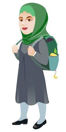 Joyful muslim girl in a hurry to go to school