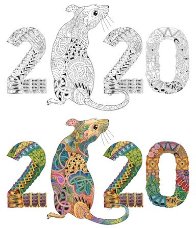 Hand drawn rat number 2020 for t-shirt and other decorations