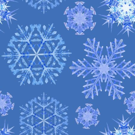 Watercolor painting effect. Handmade drawing. Seamless pattern with snowflakes, doodles and dots in blue and white colors on light blue background. For the Christmas design and decoration