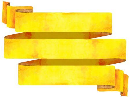 Watercolor hand drawn illustration. Waving yellow flag 写真素材 - 133537725