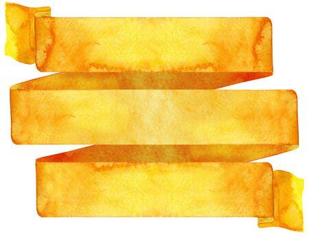 Watercolor hand drawn illustration. Waving orange flag 写真素材 - 133537727
