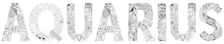 Hand-painted art design. Hand drawn illustration word Aquarius for t-shirt and other decoration