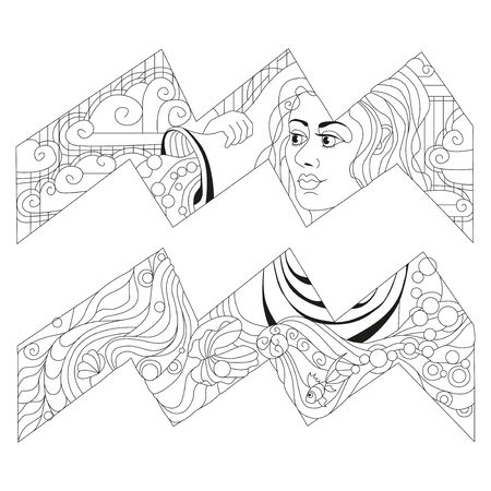 Aquarius zodiac sign, astrology concept art for coloring. Tattoo design
