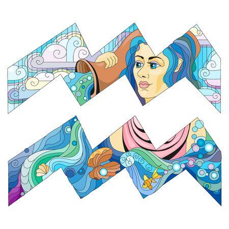 Aries zodiac sign, astrology concept art for coloring. Tattoo design Иллюстрация