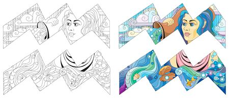 Aquarius zodiac sign, astrology concept art for coloring. Tattoo design. Color and outline set