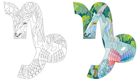 CAPRICORN zodiac sign, astrology concept art. Tattoo design Vectores