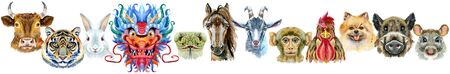 Border from watercolor twelve chinese zodiac animals 写真素材
