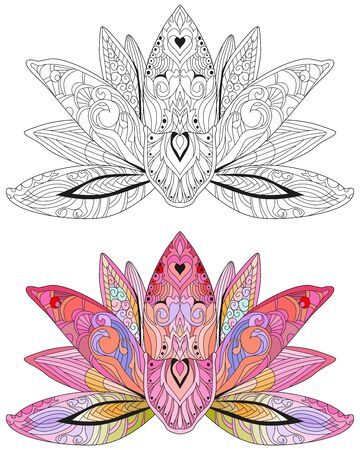 Hand drawn vector Lotus flower illustration. Tattoo art, boho and magic symbol . Color and outline set.