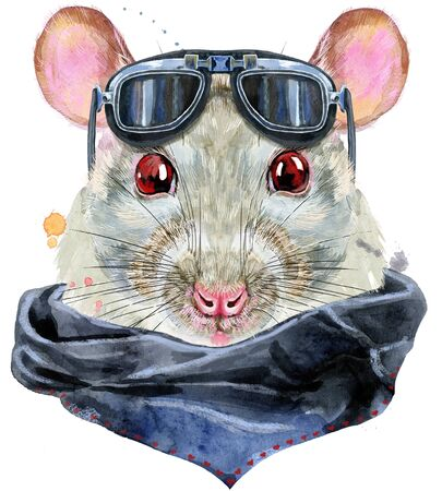 Cute white rat with biker sunglasses for t-shirt graphics. Watercolor rat illustration