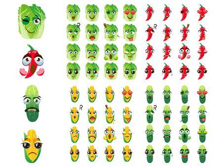 Set of vector stickers, emojis with cute corn, hot pepper, Beijing cabbage, cucumber Иллюстрация